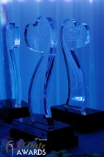 iDate Award Trophies at the January 24, 2012 Internet Dating Industry Awards Ceremony in Miami